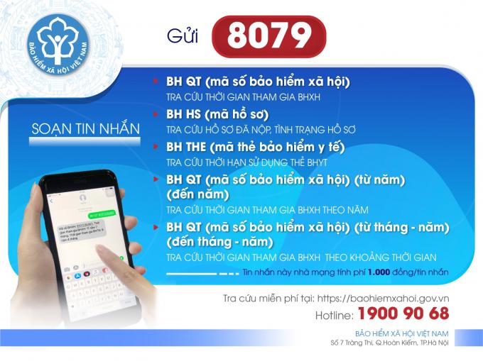 Tra cứu bảo hiểm xã hội tin nhắn